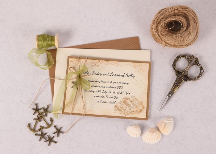 Nautical Evening Invitation with Green Ribbon & Charm