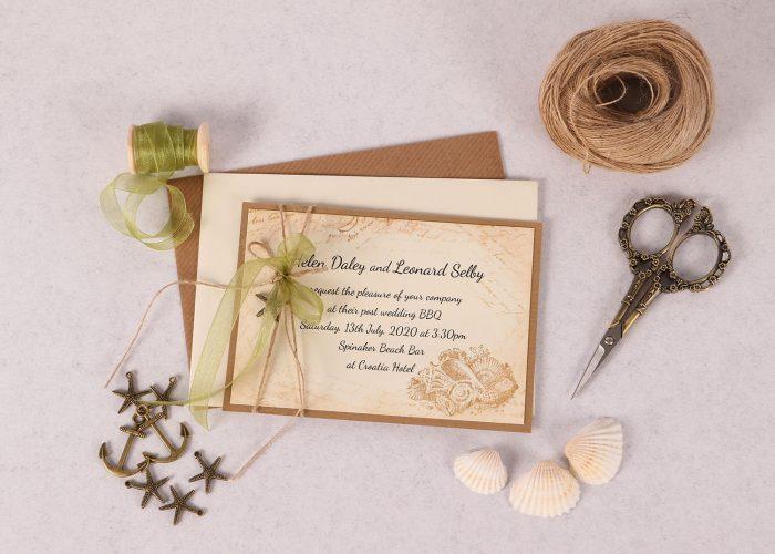 Nautical Evening Invitation with Green Ribbon & Charm