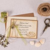 Nautical Save the Date Card with Green Ribbon & Charm
