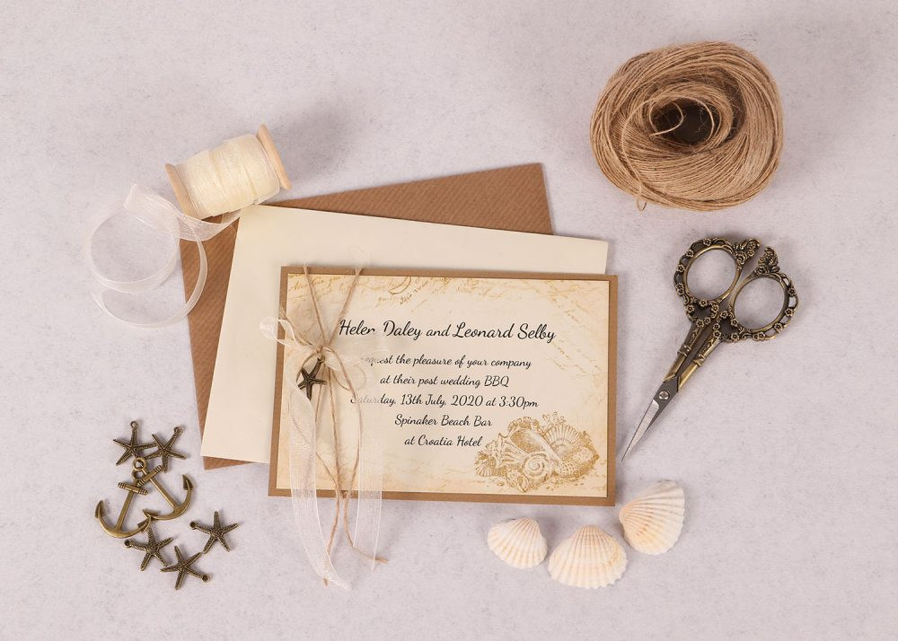 Nautical Evening Invitation with Ivory Ribbon & Charm