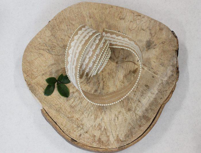 burlap lace pearl ribbon