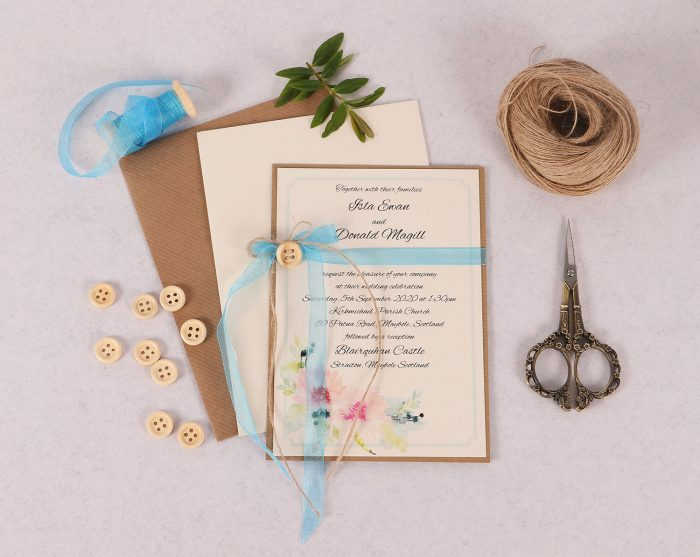 Spring Breeze Invitation with Bright Blue Organza