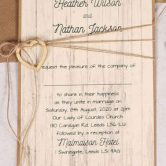 Wedding Invitation with Wooden Heart