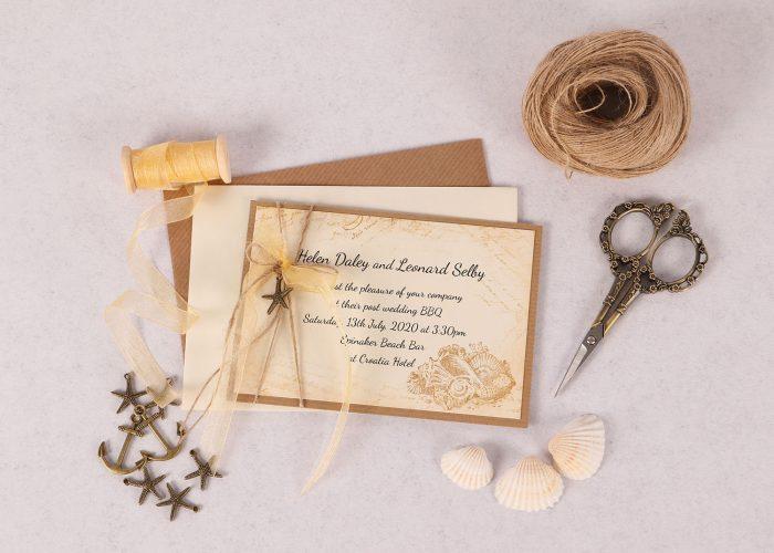 Vintage Sea Gold Invitation