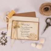 Nautical Save the Date Card with Charm and Gold Ribbon
