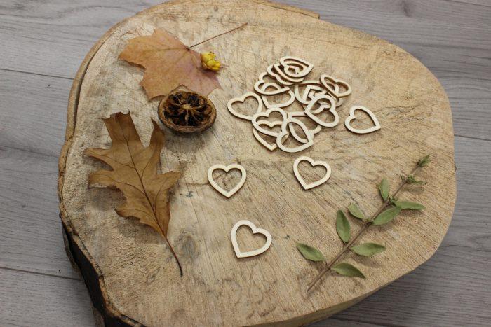 Wood Heart Charms