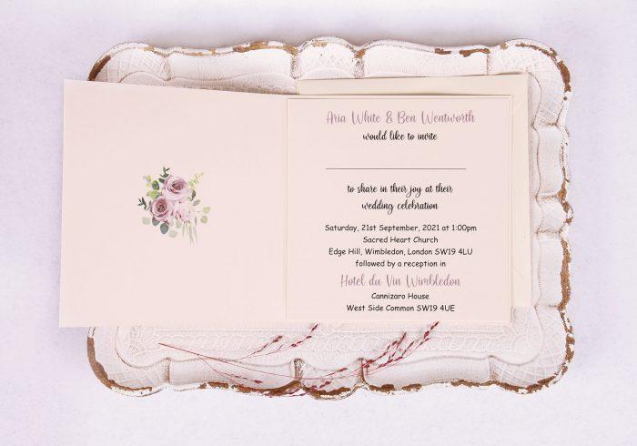 Lavender & Mauve Wedding Invitation Inside View