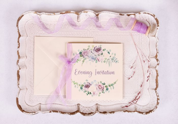 Lavender & Mauve Floral Evening Invitation with Lavender Ribbon