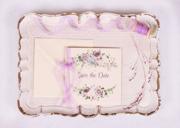 Lavender & Mauve Save the Date Card with Lavender Ribbon