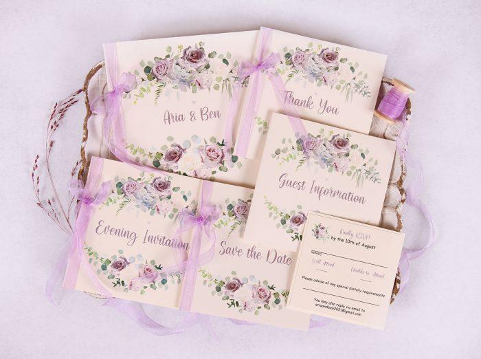 """Lavender Floral Wedding Invite Set """"Aria"""""""