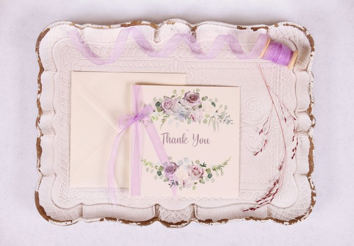 Lavender and Mauve Thank You Card with Lavender Ribbon