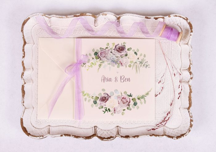 Lavender and Mauve Wedding Invitation with Lavender Ribbon