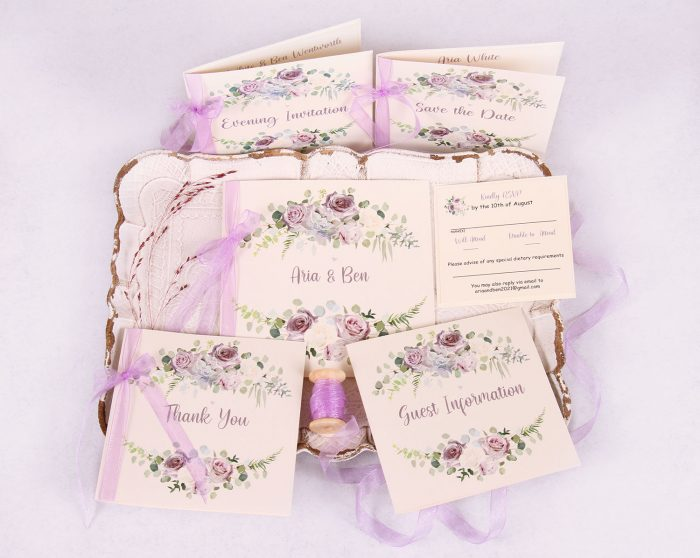 Lavender & Mauve Wedding Invitation Suite with Lavender Ribbon