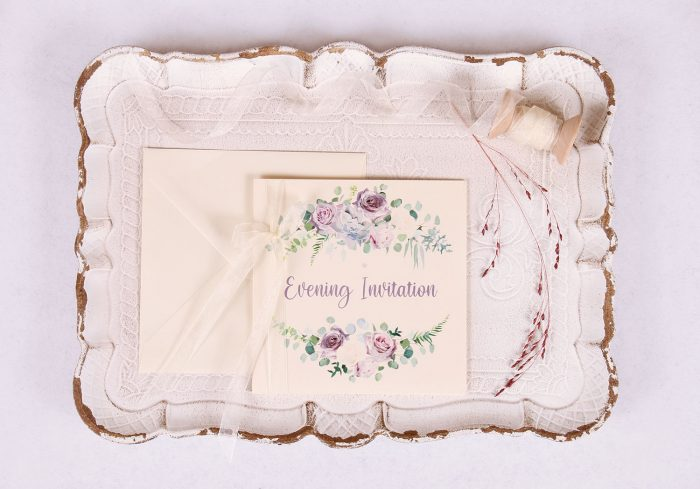 Lavender and Mauve Evening Invitation with Ivory Ribbon
