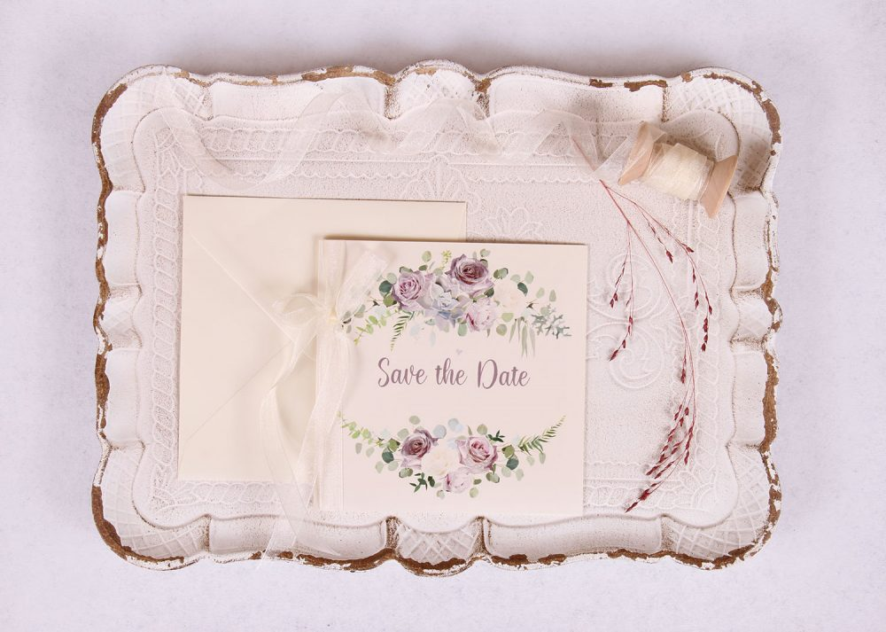 Lavender & Mauve Floral Save the Date Card with Ivory Ribbon