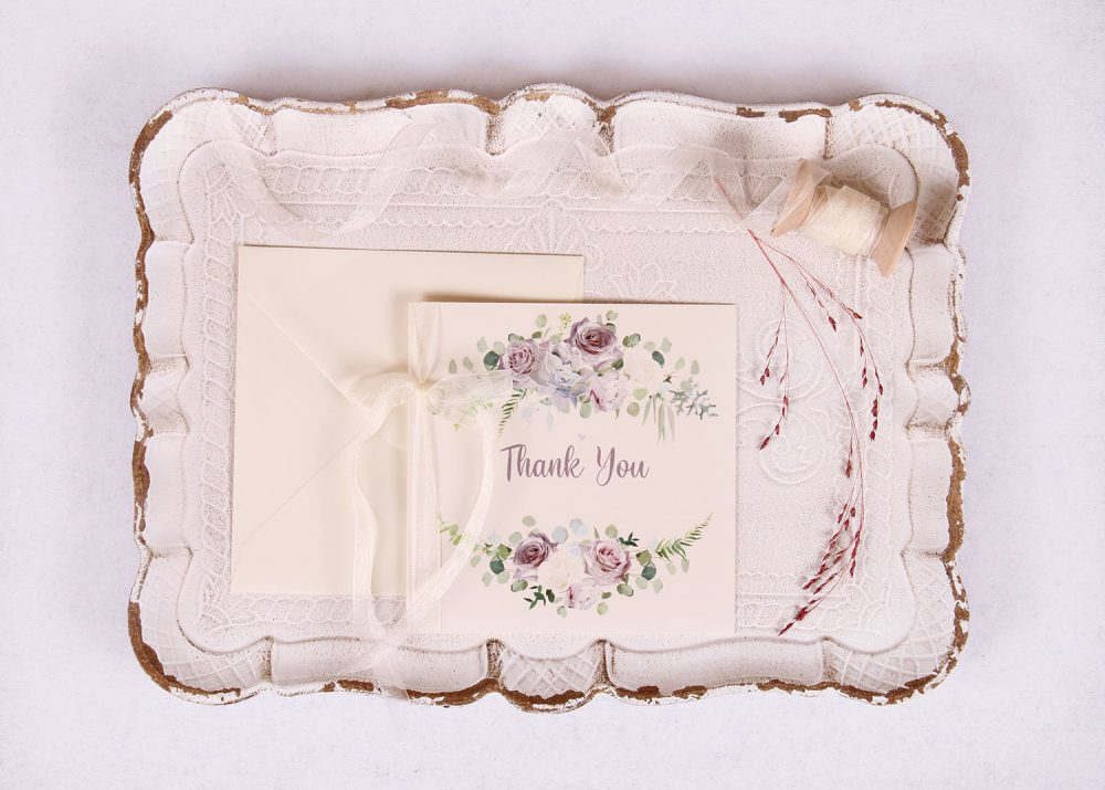 Lavender and Mauve Thank You Card with Ivory Ribbon