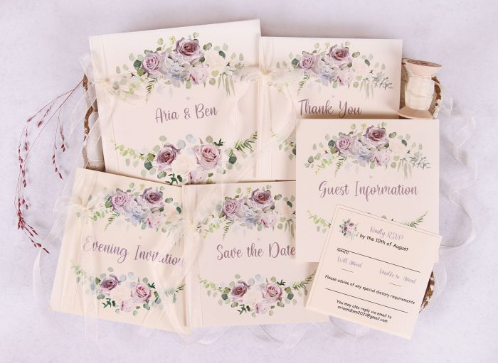 Lavender and Mauve Wedding Stationery Set with Ivory Ribbon