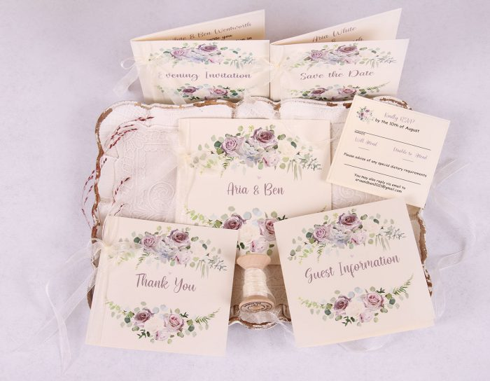 Lavender & Mauve Wedding Invitation Suite with Ivory Ribbon