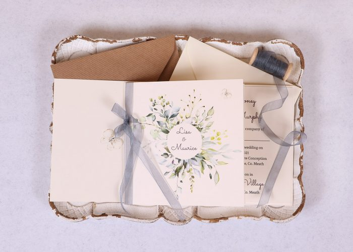 Meadow Wedding Invitation with grey organza ribbon