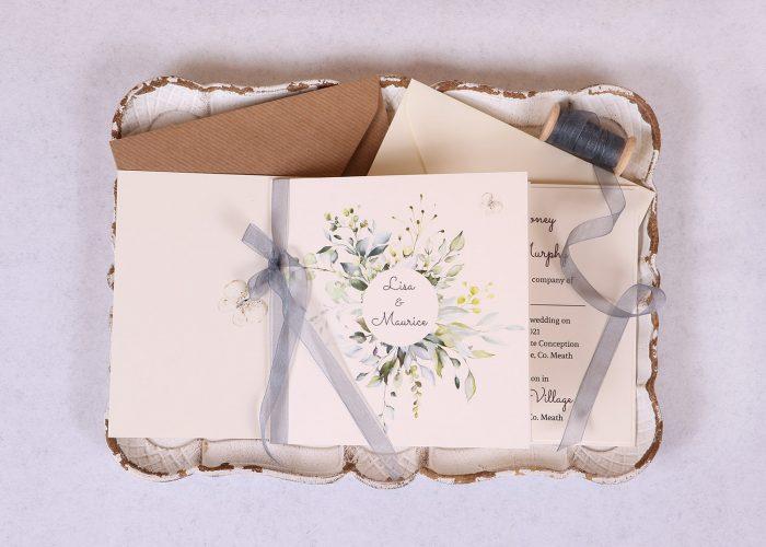 Meadow Wedding Invitation with grey organza ribbon