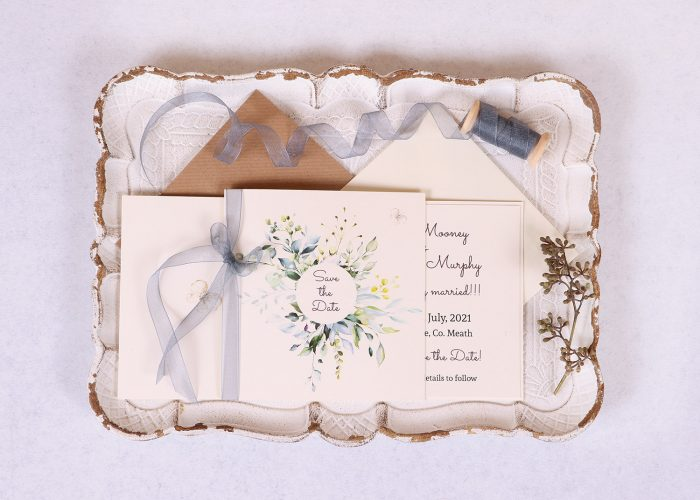 Meadow Save the Date Grey Ribbon