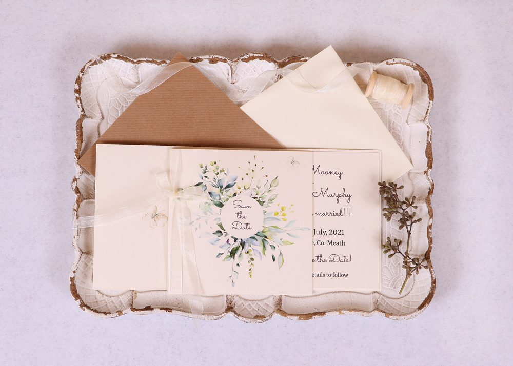 Meadow Save the Date Card Ivory Ribbon