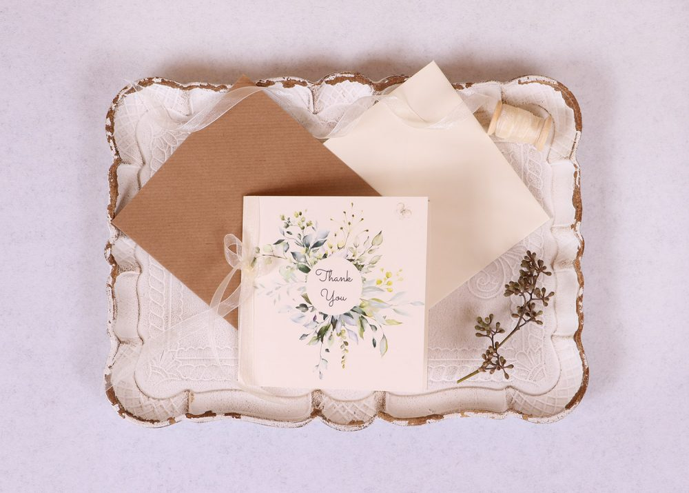 Meadow Thank You Card Ivory Ribbon