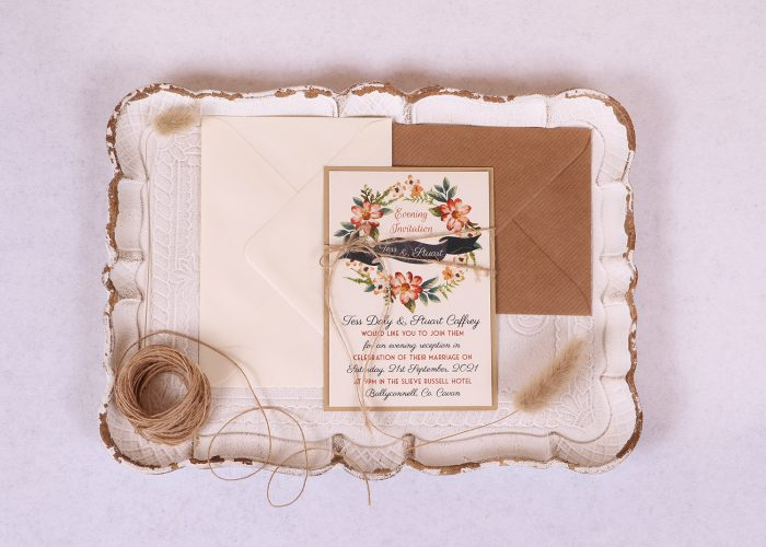 Floral Wreath Evening/reception Invitation