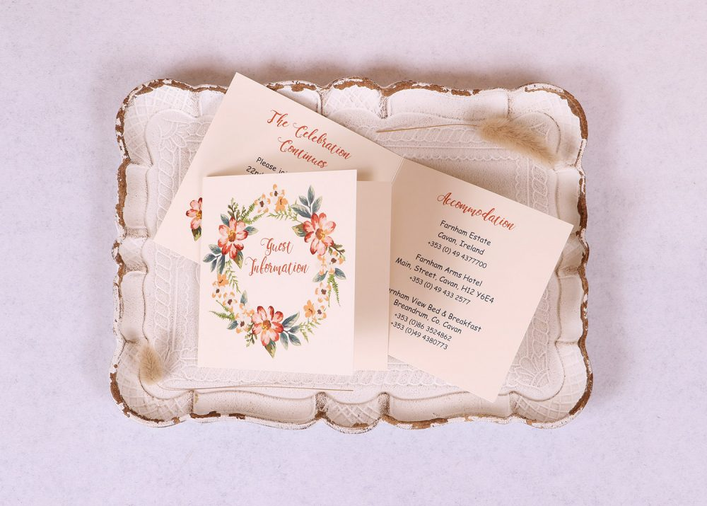 Floral Wreath Guest Information Card