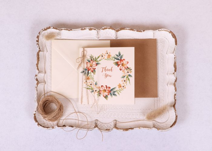 Floral Wreath Thank You Card