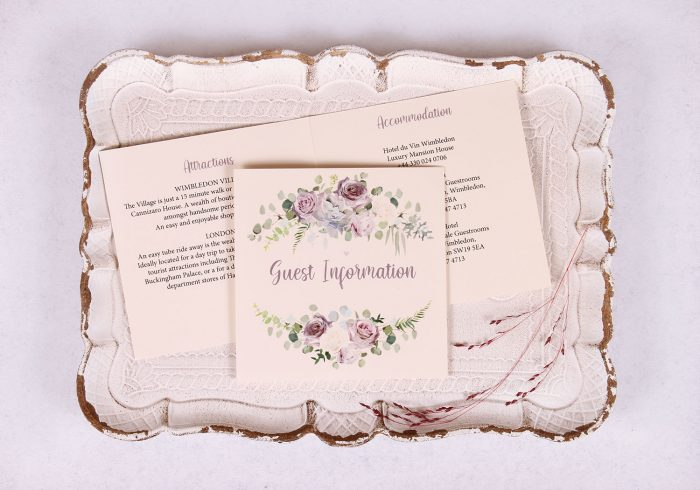 Lavender and Mauve Guest Information Card