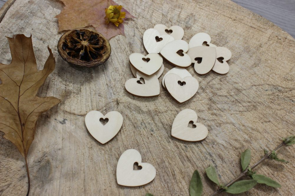 Solid Wood Heart Charms