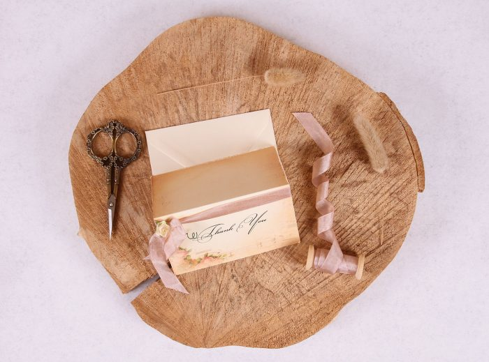 Elizabeth Thank You with Rose Beige Ribbon
