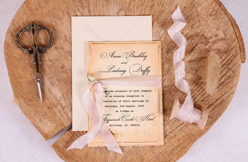 Elizabeth Vintage Evening Invitation Close Up