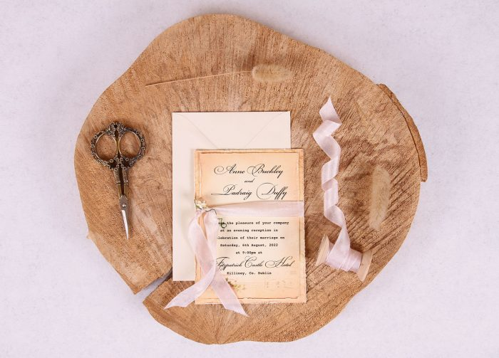Elizabeth Vintage Evening Invitation with Pink Ribbon