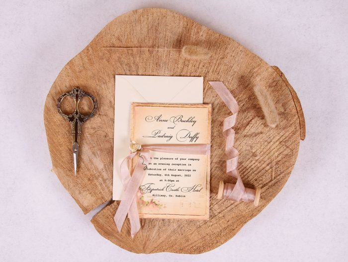 Elizabeth Vintage Evening Invitation with Rose Beige Ribbon