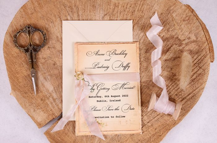 Elizabeth Vintage Save the Date with Pink Ribbon