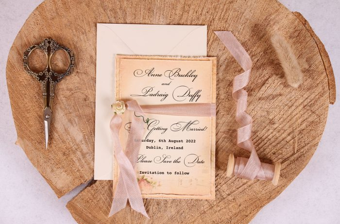 Elizabeth Vintage Save the Date Close Up with Rose Beige Ribbon