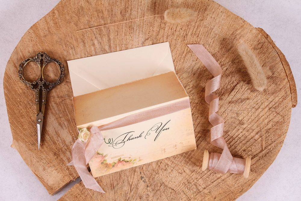 Elizabeth Thank You Card with Rose Beige Ribbon