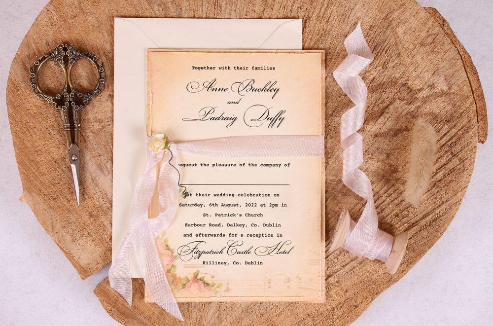 Elizabeth Vintage Wedding Invitation Close Up_Pink