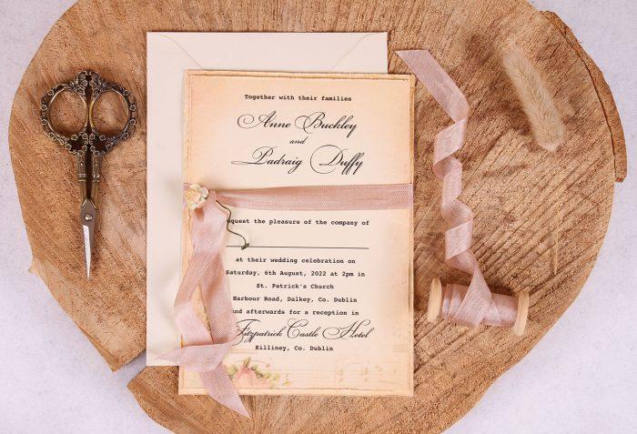 Elizabeth Vintage Wedding Invitation Close Up_RB