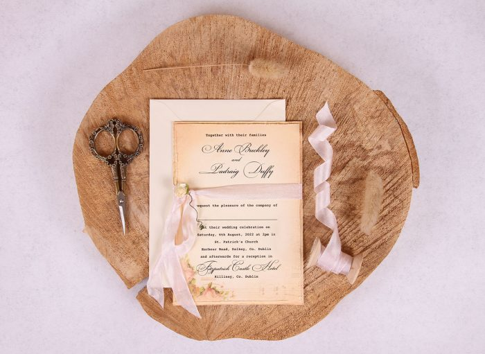 Elizabeth Vintage Wedding Invitation with Pink Ribbon