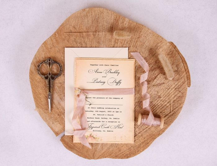 Elizabeth Vintage Wedding Invitation with Rose Beige Ribbon
