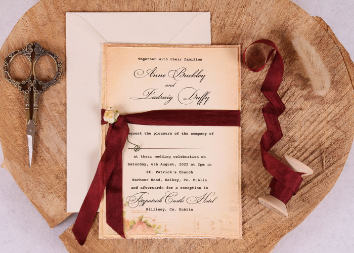 Vintage Wedding Invitation Elizabeth Burgundy