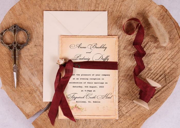 Elizabeth Vintage Evening Invitation with Burgundy Ribbon