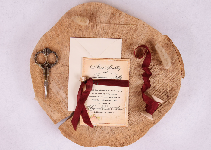 Vintage Elizabeth Evening Invitation with Burgundy Ribbon Full