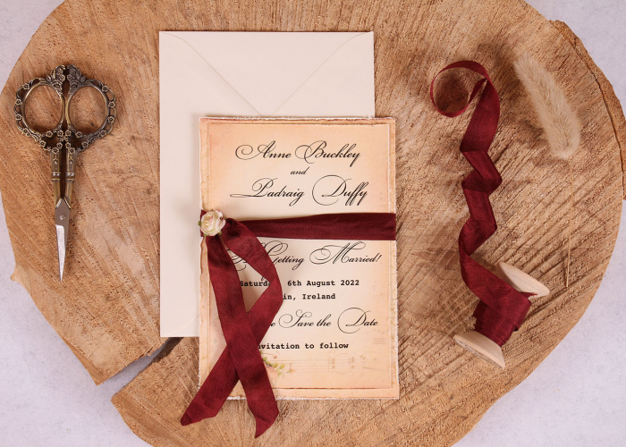 Vintage Elizabeth Save the Date Card with Burgundy Ribbon