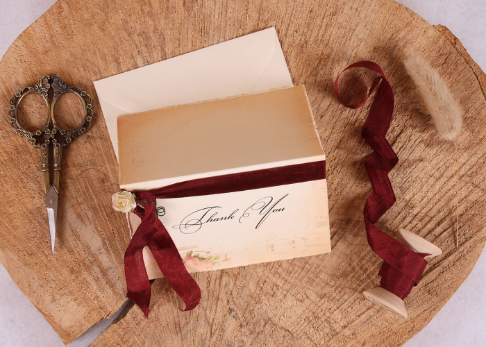 Vintage Elizabeth Thank You Card with Burgundy Ribbon