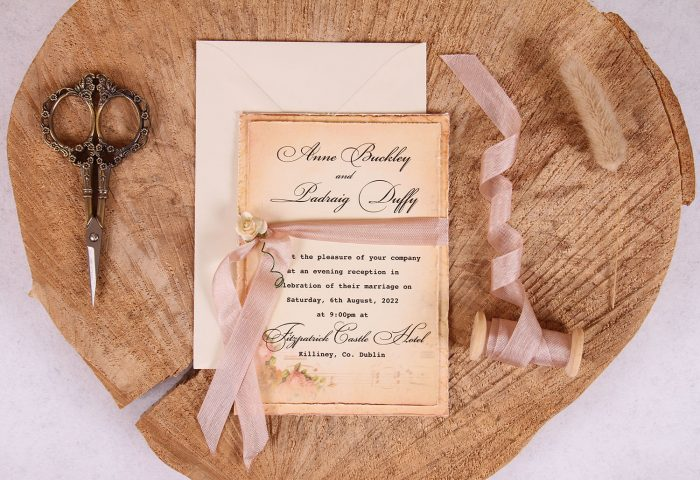Elizabeth Evening Invitation with Rose Beige Ribbon