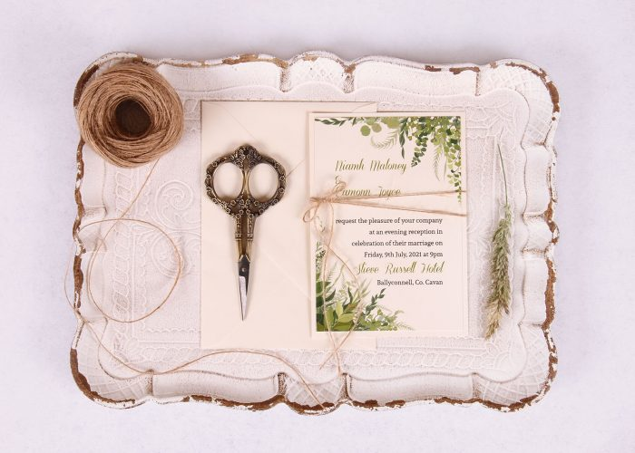 Evening:Reception Invitation with Leaves & Twine Nádúr